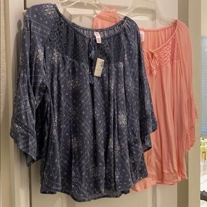 Lot of 2 Justice girls peasant tops size 24 plus